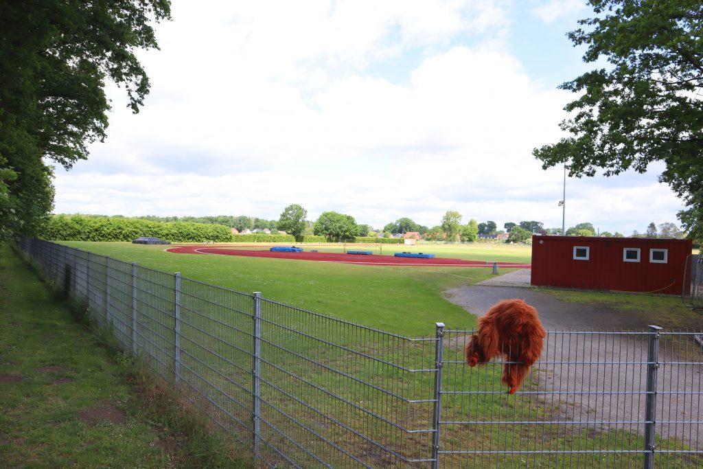 WIr haben auch einen großen Sportplatz gegenüber der Schule - wie man sieht, bin ich extrem sportlich!
